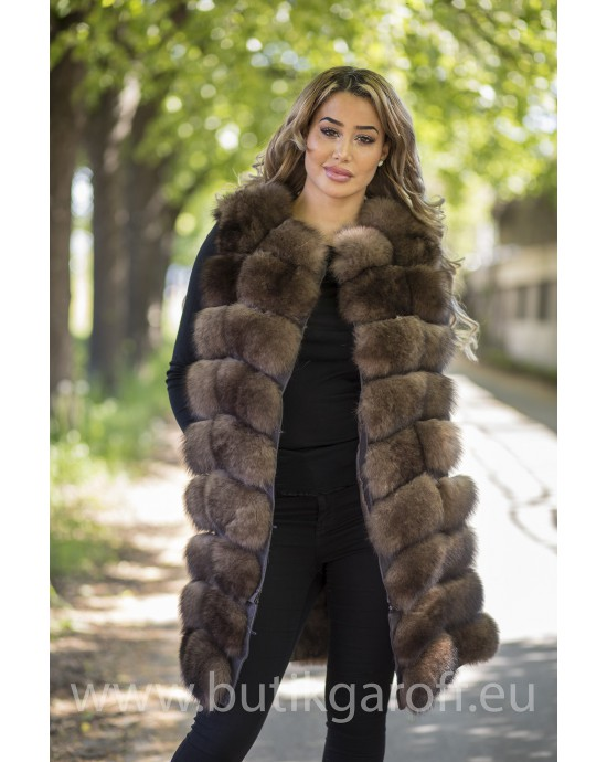 LONG Vest real fur - SOBOL 2 in 1