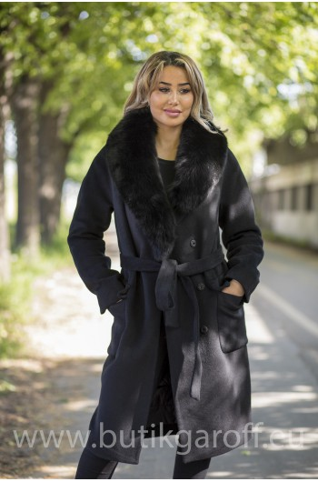 Wool coat with black fox fur