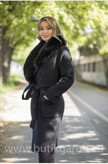 Wool coat with black fox fur