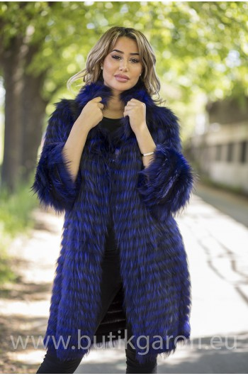 Real Fox fur coat - BLUE