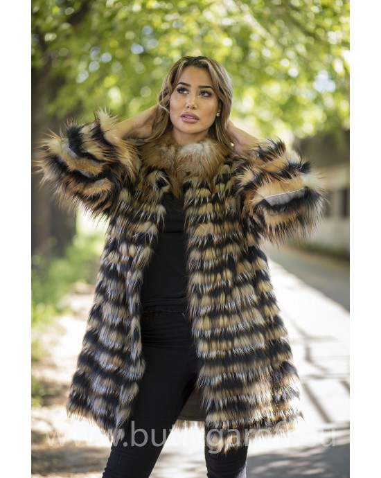 Real Fox fur coat - BLACK/GOLD