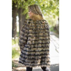 Real Fox fur coat - BLACK/GOLD