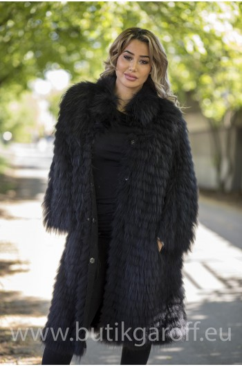 Real Fox fur coat - BLACK