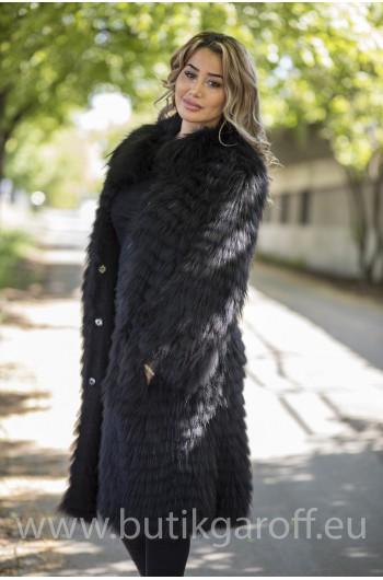 Real Fox fur coat - BLACK