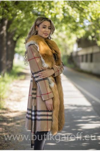 Cashmire Coat with Real Fox Fur collar - ORANGE