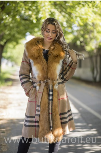Cashmire Coat with Real Fox Fur collar - ORANGE