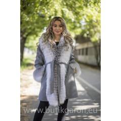 Cashmire Coat with Real Fox Fur collar - LIGHT GREY