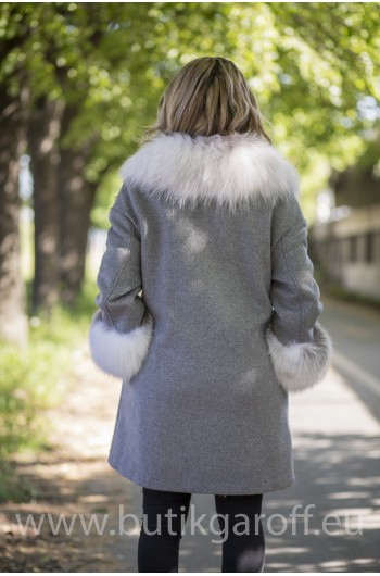 Cashmire Coat with Real Fox Fur collar - LIGHT GREY