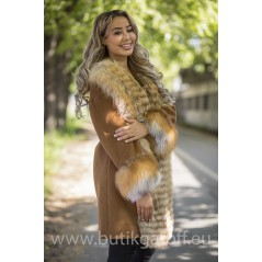 Cashmire Coat with Real Fox Fur collar - GOLD FOX