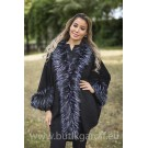 PONCHO FAKE FUR - black