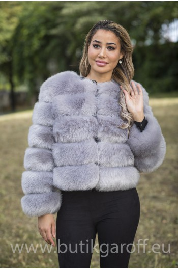 FAKE FUR 5 RINGS JACKET - LIGHT GREY