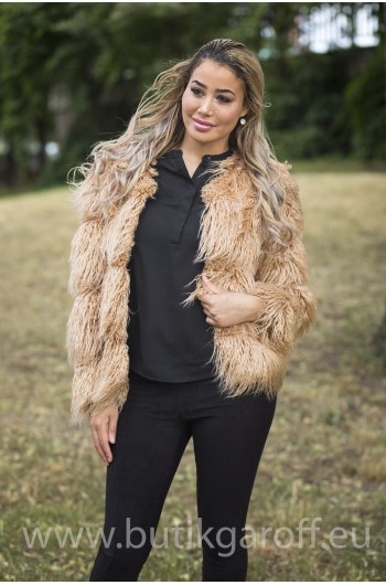 SHAGGY JACKET FAKE FUR 5 RINGS- BEIGE