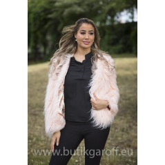 SHAGGY JACKET FAKE FUR 5 RINGS- LIGHT PINK