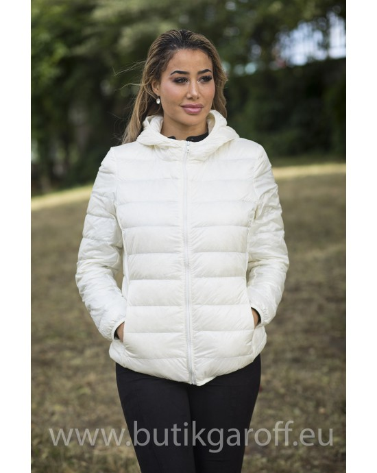 REAL DOWN JACKET WITH HOODIE- WHITE 100%