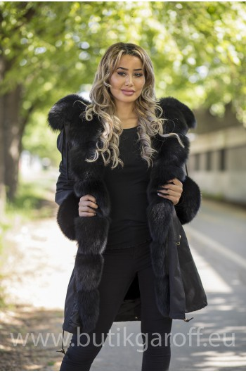 LONG 100cm BLACK PARKA WITH BLACK REAL FOX FUR