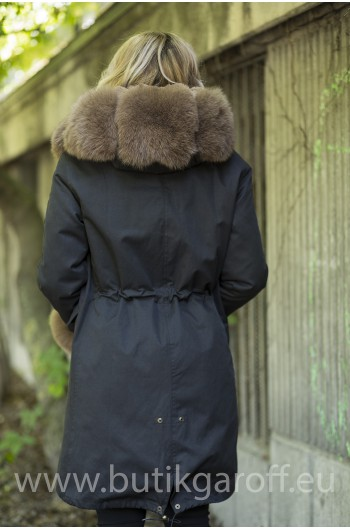 LONG BLACK PARKA WITH BROWN REAL FOX FUR