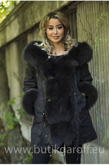 MINK CAMO PARKA WITH REAL FOX FUR GRAPHITE