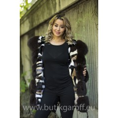 MINK LIGHT CAMO PARKA WITH REAL FOX FUR BROWN
