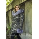 MINK LIGHT CAMO PARKA WITH REAL SILVER FOX FUR