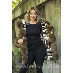 MINK  CAMO PARKA WITH REAL FOX FUR - SOBOL COLOR