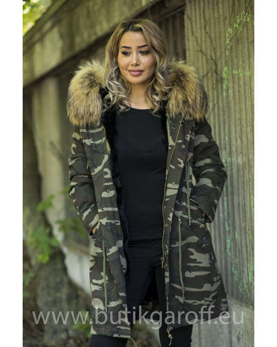 CAMO PARKA WITH BIG REAL RACOON FUR COLLAR