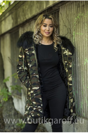 CAMO PARKA WITH BIG REAL BLACK RACOON FUR COLLAR